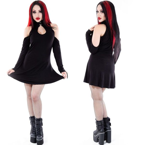 NECESSARY EVIL Daena Gothic Black Keyhole Dress(Large UK14)